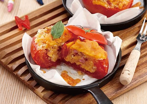 做鹹食也能零油煙? 5步驟烤定簡易版《吐司番茄盅》!