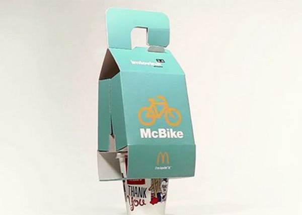 【麥當勞推出單車專用得來速《McBike》包裝】以後單車族也能輕鬆外帶不用怕飲料打翻囉!