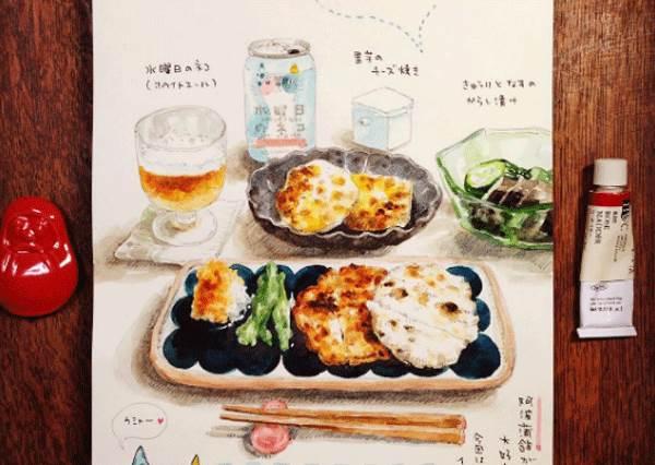 連餐廳都想買來當MENU!她用「美食插畫」代替打卡拍照,竟連高難度的西餐都畫得超逼真